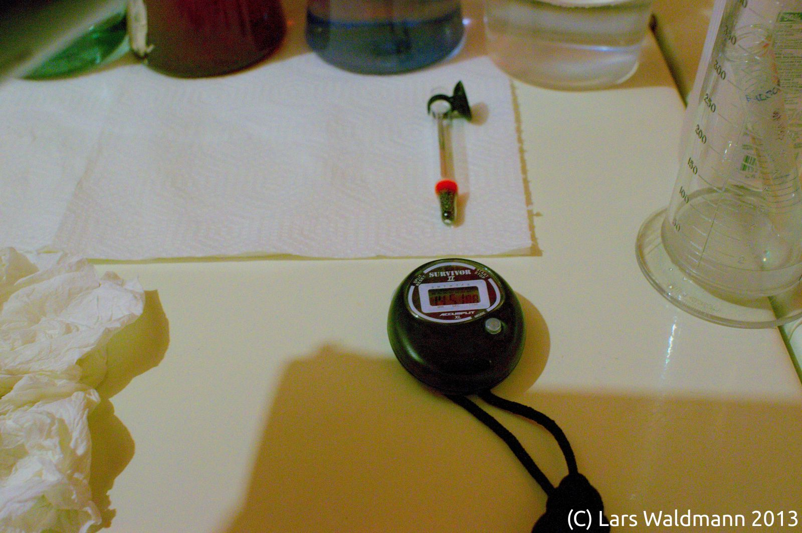 Stopwatch and thermometer set up for processing of C-22 film